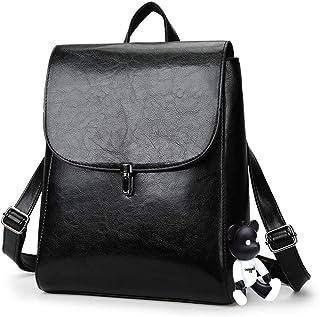 DEERWORD Damen Rucksackhandtaschen Damenhandtaschen Tornistertaschen Henkeltaschen Umhängetaschen Schwarz V2