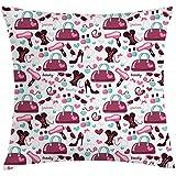 Fodera per cuscino per cuscino di moda, oggetti di moda per ragazza primaria con scarpa tacco alto glamour e stampa abbigliamento borsa, federa, bianco viola, 45X45 cm