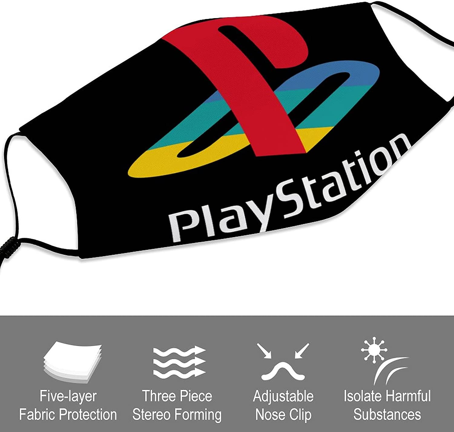 Play-Station Kids Masks for Children Anti-Dust Face Towel Adjustable Washable Reusable Face Cover with Filte