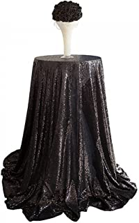 Round Sequin Polyester Tablecloth Wedding Table Cloth, Sparkle Sequin Fit for Gatsby Wedding, Glam Wedding Decor, Vintage Weddings (Black, Diameter-80cm)