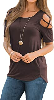 Women Short Sleeve Strappy Cold Shoulder T-Shirt Tops Blouses