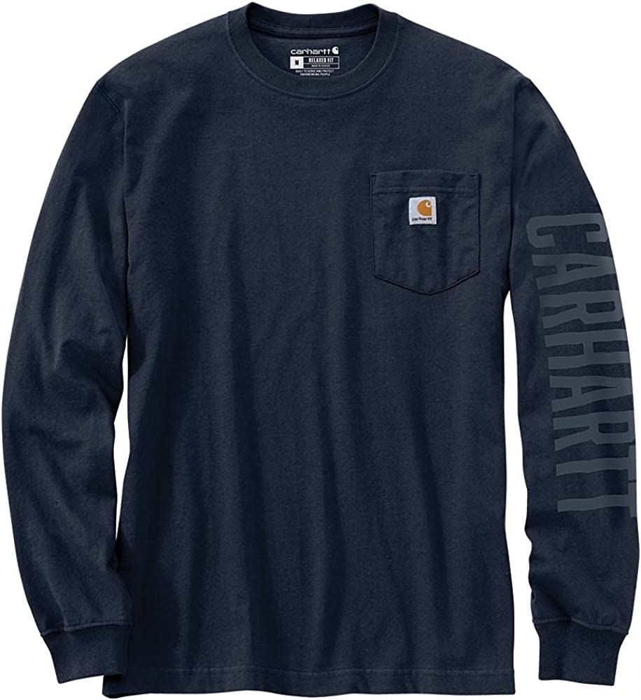 Carhartt Men's 105041 Relaxed Fit Heavyweight Long-Sleeve Pocket Logo Graphic T
