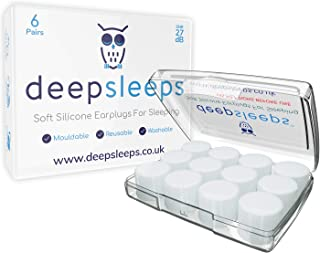 Earplugs for Sleeping by Deep Sleeps (New Larger 6 Pair Box) UK No1, Reusable & Custom Fit Soft Silicone Earplugs, The Bes...