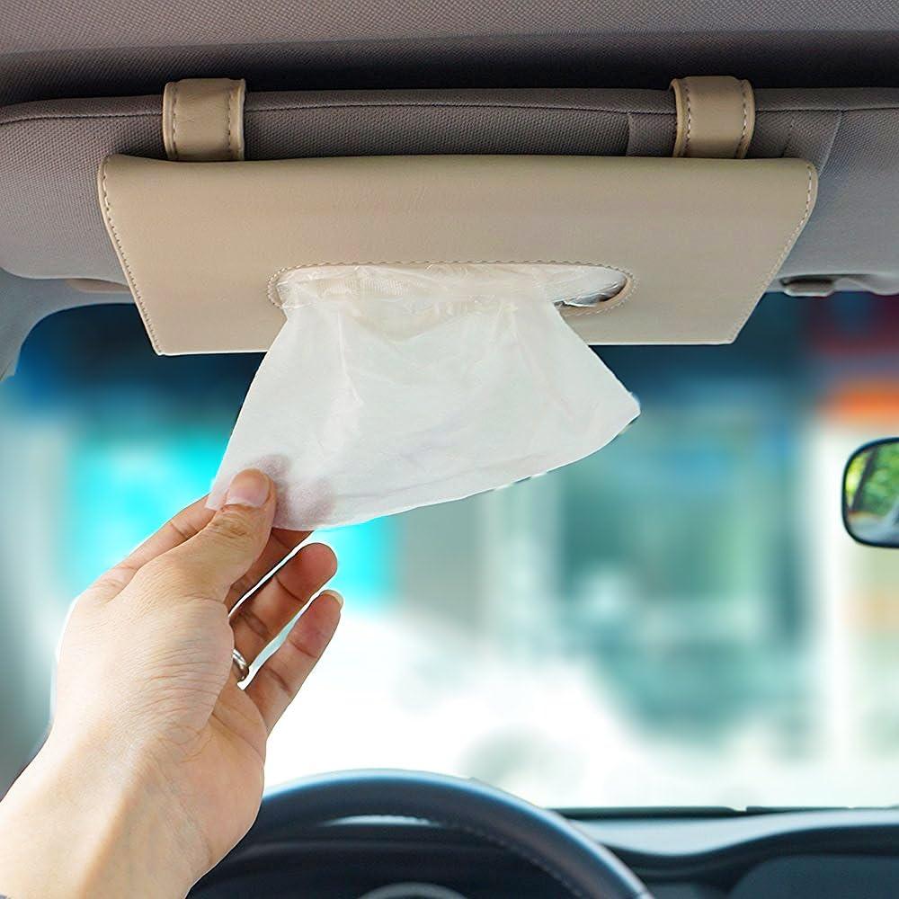 Locen Auto Sonnenblenden Tuch Pu Leder Tücherbox Gewebe Halter Papierhalter Beige Auto
