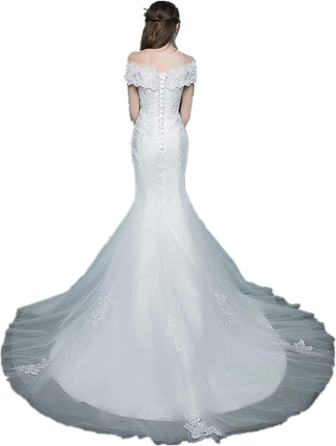 Fankeshi Off The Shoulder Appliques Mermaid Bridal Gowns with Train Wedding Dresses