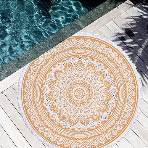 ZYFang India Throw Mandala Redonda Roundie Beach Colgantes Tapiz Hippy Boho Gitana Algodón Cubierta De Mesa Redonda Tapicería De La Pared (Color : Mandala 1, Size : Round59)