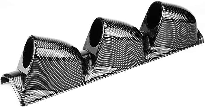 Support de jauge de tableau de bord Fibre de carbone Pod de jauge de tableau de bord triple 2 pouces Support de montage de compteur de tableau de bord /à 3 trous Accessoire automatique universel