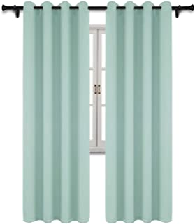 SUO AI TEXTILE Blackout Room Darkening Curtains Thermal Insulating Window Drapes Solid Grommet Top Window Curtain Panels Light Reducing Drapery,52Wx95L,Mint Green,2 Curtain Panels