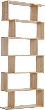 HOMCOM Bibliothèque étagère Zig zag Design Contemporain 80L x 23l x 192H cm 6 Niveaux Coloris chêne Clair