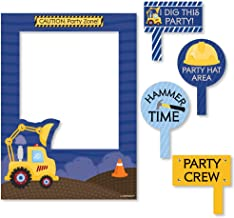 Big Dot of Happiness Construction Truck - Birthday Party or Baby Shower Selfie Photo Booth Picture Frame & Props - Printed on Sturdy Material