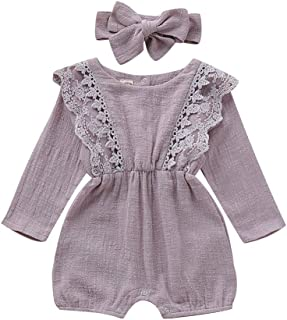 Weixinbuy Toddler Baby Girls Lace Long Sleeve Romper One Piece Overall Bodysuit with Headband 0-24 Months