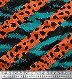 Soimoi Grun Kreppseide Stoff Zebra & Leopard Tierhaut Stoff