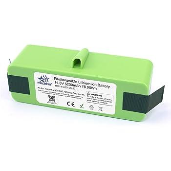 melasta batería de iones de litio de 14.8v 5200mAh de larga duración de para iRobot Roomba 980 960 890 690 900 800 700 600 Series 985 966 880 870 790 780 770 655 650 640 614 615 620 -celdas UL&CE: Amazon.es: Hogar