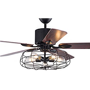 Industrial 48 Wrought Iron Style Fan Semi Flush Ceiling Light Litfad Adjustable Chandelier Retro Antique Ceiling Light With Fan Through Remote Control Amazon Com