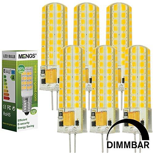 MENGS 6 Stück Dimmbar G4 LED Lampe 7W AC/DC 12V Warmweiß 3000K 72x2835 SMD Mit Silikon Mantel