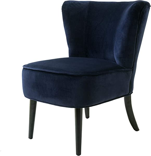 Navy Blue Velvet Accent Chair Modern Comfy Side Chair With Black Wood Legs For Living Room Bedroom Sapphire Blue