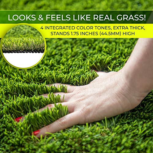 Imozel Premium Outdoor Artificial Lawn and Turf Grass 5'x10' - Decorative Synthetic Astroturf Grass Mats - Realistic Looking and Feeling, Weatherproof - for Landscaping, Homes, Businesses, Dogs