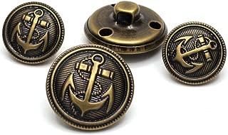 Enosea 11 Pcs Antiqued Brass Metal Blazer Button Set- Shank Style Fashion Buttons for Blazer, Suits, Coat, Uniform, Jacket