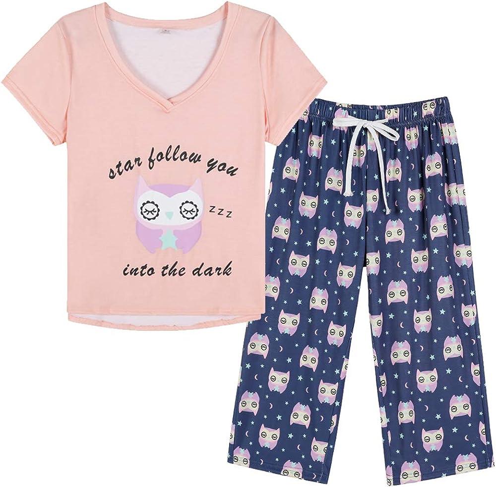 YIJIU Women Soft Comfy Pajamas Cute Cheap super 5 popular special price Cat Capri Sleeve Pants Short