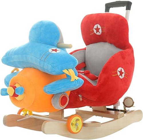 Baby-Schaukelpferd Aus Holz 2 In 1 Dual Use Schaukelpferd Mit R rn Für 1-3 Jahre Kind Jungen Und mädchen Kinder Kid Rocker Rocker Sitz Puzzle-Musik-Spielzeug Geburtstagsgeschenk