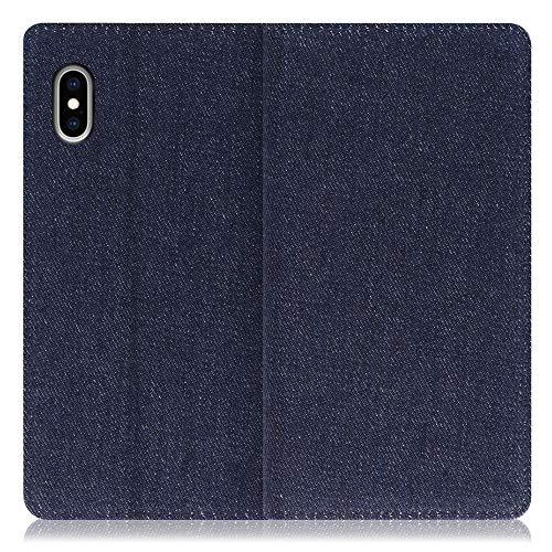 LOOF Denim iPhone XS Max ケース 手帳型 カバー スマホケース デニム生地 横入れ カード収納付 スタンド機能付 パス入れ 手帳型ケース 手帳型カバー ベルトなし おしゃれ シンプル ブランド (ブルー)