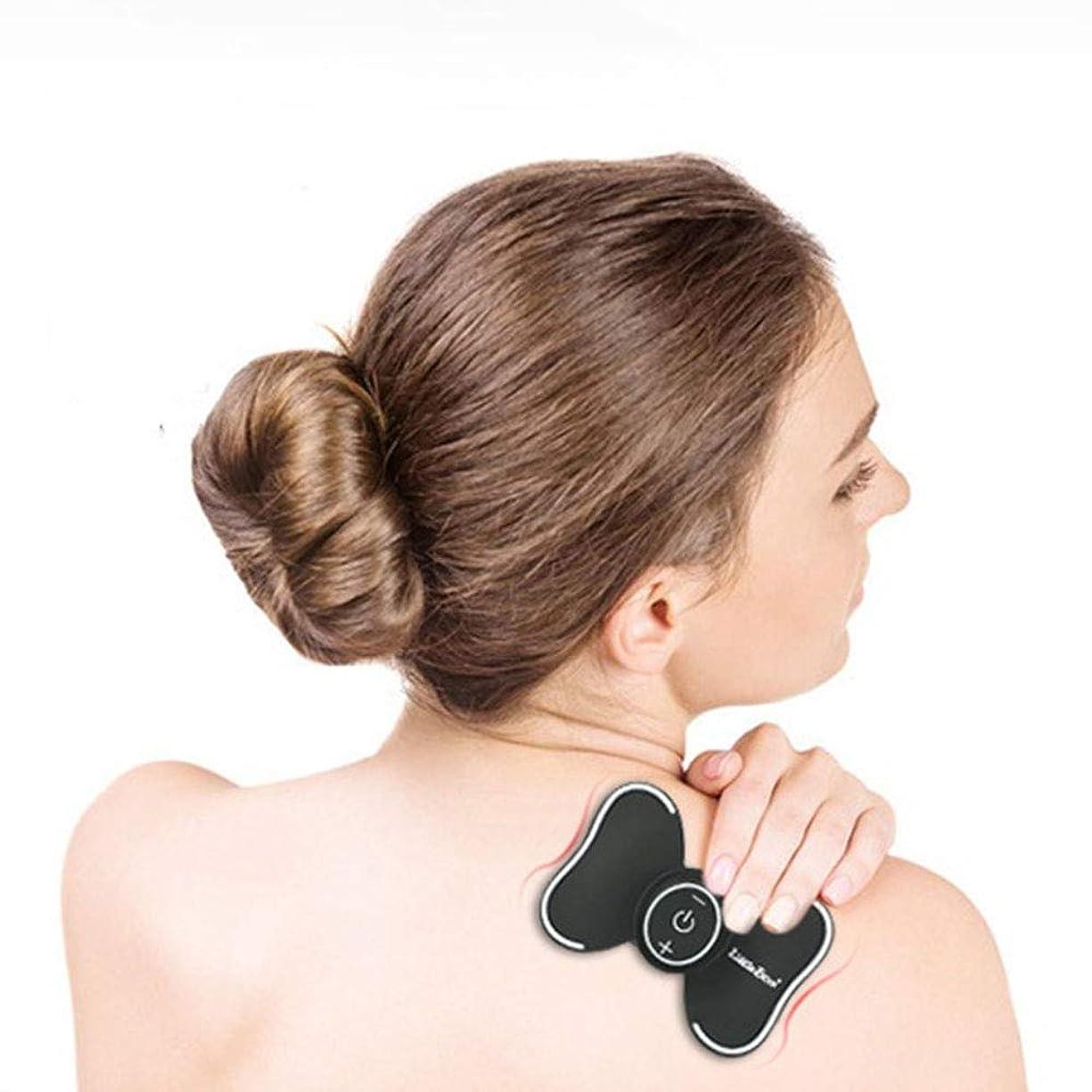 妻労苦あごUSBワイヤレス充電式再利用可能パルスマッサージャースマート子宮頸部マッサージャー (色 : ブラック, サイズ : ワンサイズ)