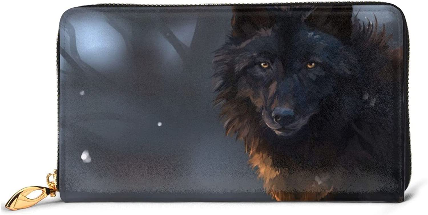 Fantasy Wolf Leather Wallet Women Long Clutch B free shipping Around Zip Purse Max 41% OFF