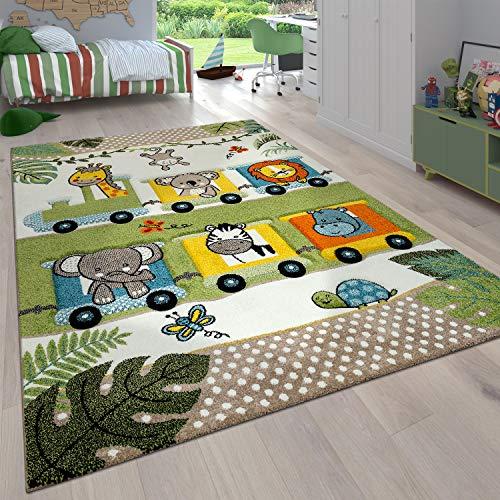 Paco Home Kinderzimmer Kinderteppich für Jungen mit Tier u. Dschungel Motiven Kurzflor, Grösse:80x150 cm, Farbe:Grün 3