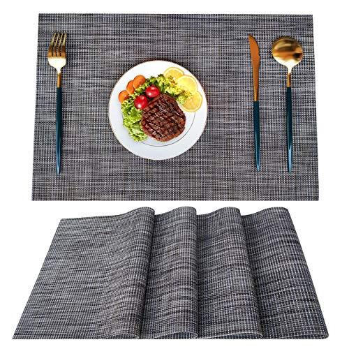 Woollo Platzsets(4er set)Tischsets Set mit 4 Tischsets,Waschbare PVC-Tischsets Rutschfeste,Leicht Hitzebeständige 45cmx30cm,Braun Grau