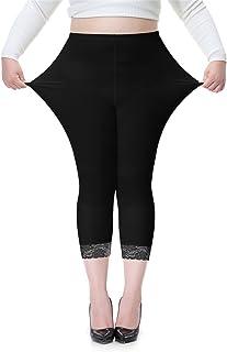 fc98f976ac Women s Plus Size Lace Trim Soft Modal Cotton Leggings Workout Tights Pants  Cropped Length
