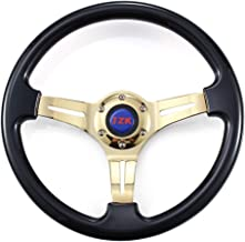 JZK New Classic Universal Steering Wheel 350mm 6 Bolts ABS Material Gold Plating Black Grip and Gold Brushed Stainless Spoke