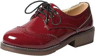 KemeKiss Retro Brogue Pumps Shoes Women Round Toe Lace Up Pumps