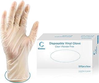 Clinivex Clear Vinyl Gloves Disposable Gloves,Box of 100pcs, Latex-Free, Powder Free Disposable Gloves (Medium)