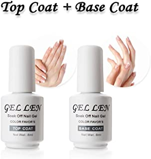 Gellen Top Coat And Base Coat for Gel Polish - Long lasting Shine Finish, 8ml Each Bottle