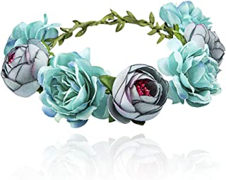 Flower Crown for Girls Women Baby, Adjustable Handmade Bridal Flower Wreath Headband, Halo Rose Crown, Floral Garland Headpiece for Wedding Family Traveling Photography (Blue)
