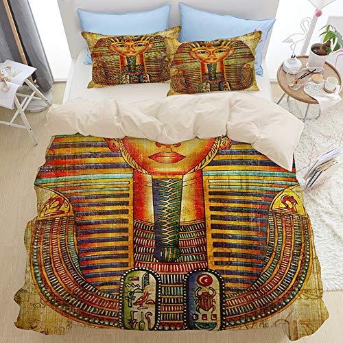NOLOVVHA Bedding Juego de Funda de Edredón,Beige,Regina egizia re Principe su papiro,Microfibra NO LLENAR,(Cama 240x260 + Almohada)