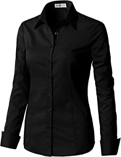 Women's Basic Long Sleeve Slim Fit Button Down Shirt