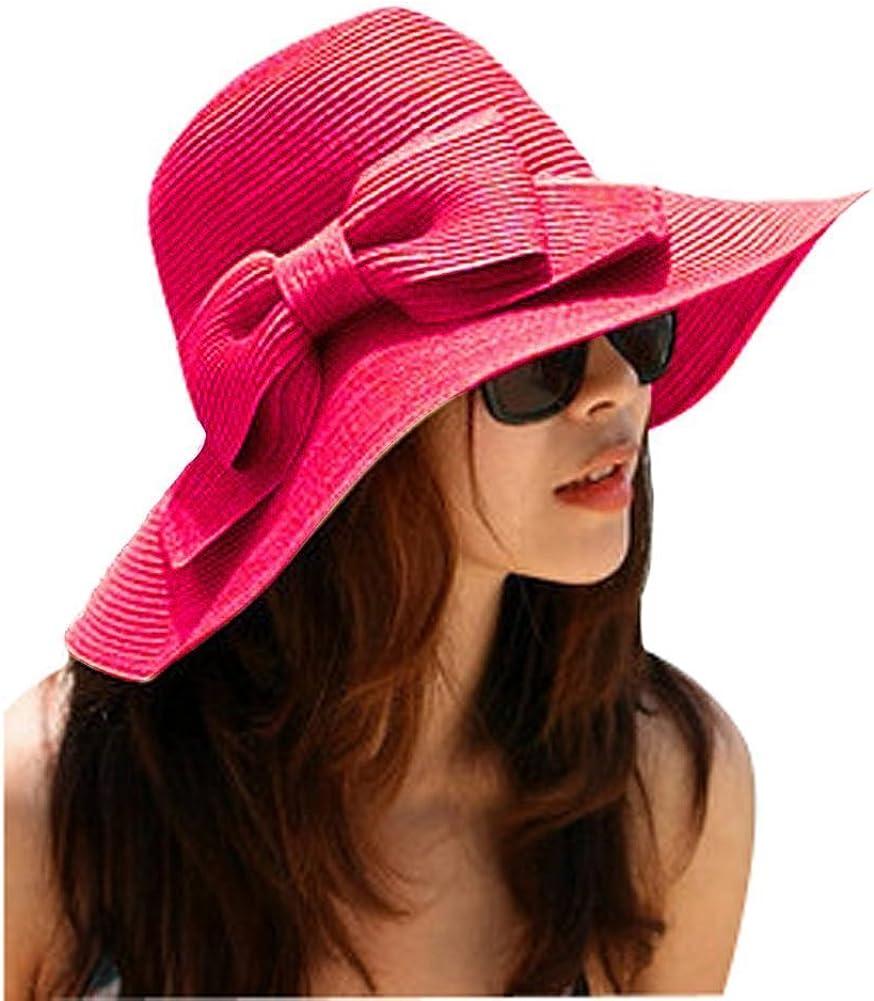 GODHL Bowknot Playa Visera Plegable Ancho ala Paja Sombrero Gorra para Damas Color