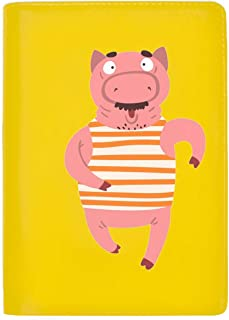 Funny Male Pig Running Farm Animal Cartoon Passport Wallet,Passport Cover,Passport Holder,Leather passport wallet