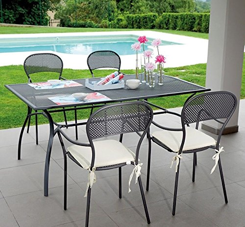 Garden Dining Set with Table and Four Chairs with Arms