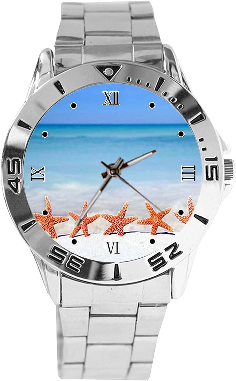 Starfish Department store Beach Design Analog Wrist Fees free Dial Quartz Watch Silver Clas