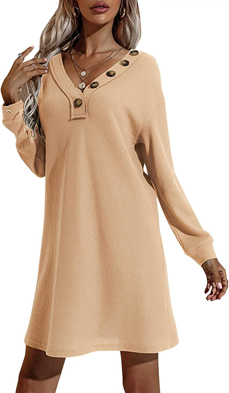 xoxing Womens Dresses Casual Plus Size Long Sleeve Solid Color Knit Sweater Dress V Neck Mini Button Loose Tunic Dresses