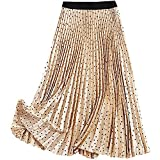LaiYuTing Falda Larga De Moda Polka Dot Plisada A-Line Faldas De Mujer