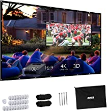 Projector Screen, Upgraded 100 inch 4K 16:9 HD Portable Projector Screen, Premium Indoor Outdoor Movie Screen Anti-Crease Projection Screen for Home Theater Backyard Movie Office Presentation.