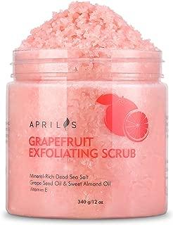 Grapefruit Body & Facial Scrub Exfoliator with Dead Sea Salt, Gently Exfoliates & Moisturizes Skin with Ultra Essential Oils & Vitamin E, Natural Pore Minimizer & Reduces Wrinkles, Acne Scars, 12 oz