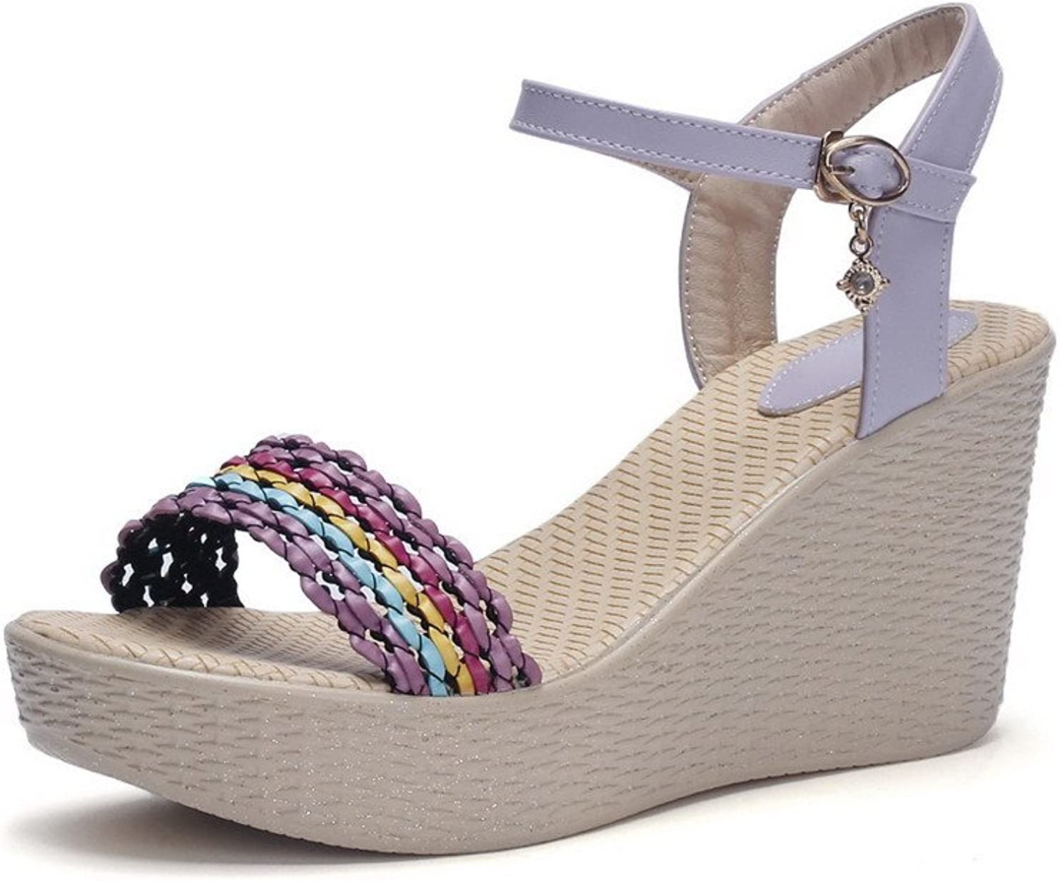 AmoonyFashion Women's Buckle High-Heels Pu Assorted color Open Toe Sandals