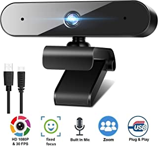 1080P Webcam for PC Laptop Desktop, 360-Degree Rotation Streaming Webcam with Microphone, Computer Video Camera Webcam Com...