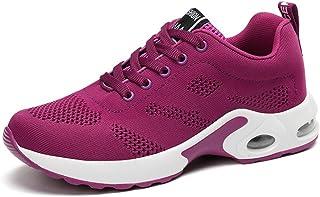 [WOOYOO] 運動靴 レディーススニーカー 厚底 ウォーキングシューズ カジュアルシューズ レースアップ シンプル 軽量 防滑 メッシュ 通気性 エアークッション 疲れない プラット ランニング スポーツ 歩きやすい 赤 紫 黒 ピンク