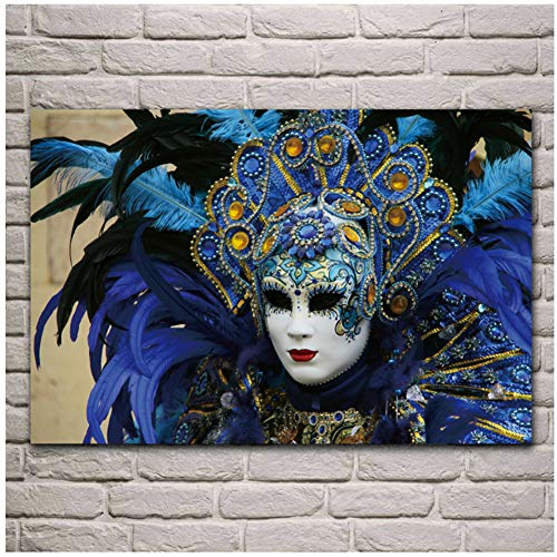 Venetië carnaval masker fasion meisje profiel woonkamer slaapkamer thuis muur decoratie posters prints cadeaus voor ouders en vrienden-60x90cm geen frame