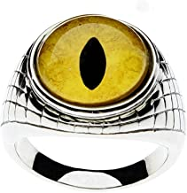 Steel Dragon Jewelers Dramatic Men's Glass Eye Ring - Choose from 17 Handcrafted Animal or Fantasy Eyes in an Egyptian Inspired Stainless Steel Setting